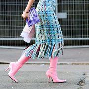 Human leg, Pink, Magenta, Pattern, Street fashion, Teal, Fashion, Purple, Bag, Turquoise,