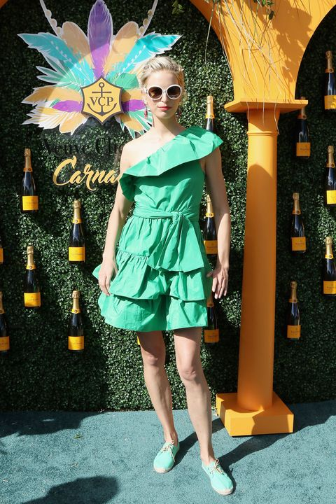 Clothing, Green, Fashion model, Shoulder, Fashion, Dress, Eyewear, Yellow, Turquoise, Cocktail dress,