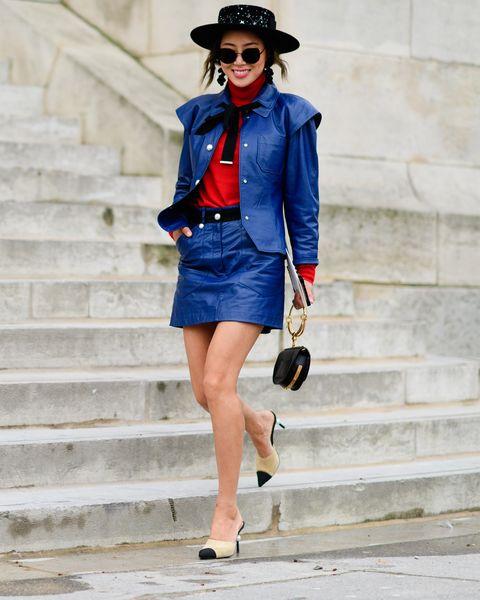 Clothing, Cobalt blue, Blue, Street fashion, Fashion, Electric blue, Jacket, Waist, Denim, Leather,