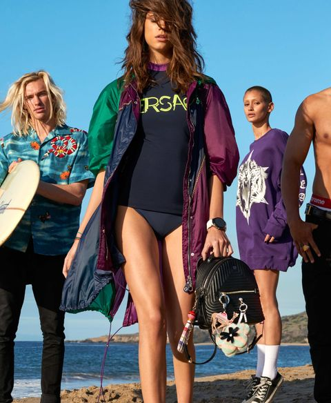 "<p>On her, center: Nylon jacket, $2,250, viscose T-shirt, $675, both, Versace, visit versace.com. Bikini bottom, Dion Lee [Water], $430. Earring, Shashi, $40 (for pair). Bracelets, all, Monica Vinader, $150-$195 each. Smartwatch, Tag Heuer, $1,500. Backpack, $2,300, mink key chain, $900, both, Fendi. Key chains, both, Kate Spade New York, $78–$88 each. On her, right: Cotton sweatshirt, Marcelo Burlon County of Milan, $555. Sneakers, Converse, $50. On him, left: Silk shirt, Gucci, $1,020. His own jeans.&nbsp&#x3B;<span class=""redactor-invisible-space"" data-verified=""redactor"" data-redactor-tag=""span"" data-redactor-class=""redactor-invisible-space""></span></p>"