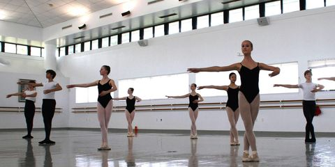 "<p>""We start at 8 a.m. at our learning center where we all individually work on our own online school. We do that for about four hours, then we get a lunch break at noon, and we start technique class at 12:40. That class is followed by pointe, or variations, or a pas de deux class, then, on top of that, we'll have about three more hours of rehearsals. We finish around six and eat dinner, then we're required to do study hour in the evenings.""<span class=""redactor-invisible-space"" data-verified=""redactor"" data-redactor-tag=""span"" data-redactor-class=""redactor-invisible-space""></span><br></p>"