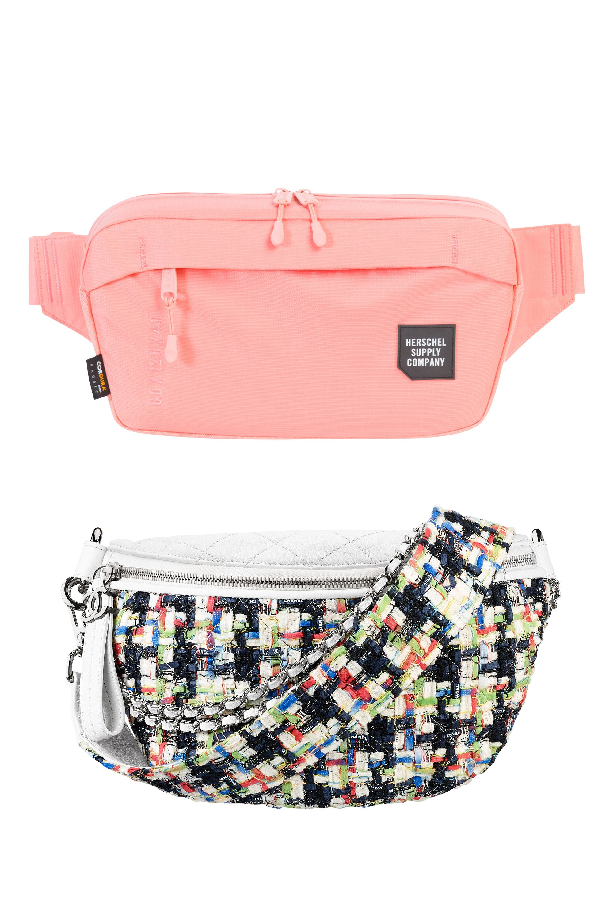 "<p>Nylon pink hip bag, HERSCHEL SUPPLY CO., $45, visit herschelsupply.com. Tweed and lambskin hip bag, CHANEL, $2,900, call 800-550-0005<span data-redactor-tag=""span""></span></p>"