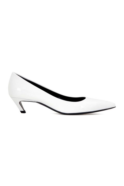 <p>Balenciaga, Patent leather kitten-heel pumps, $635, mytheresa.com</p>
