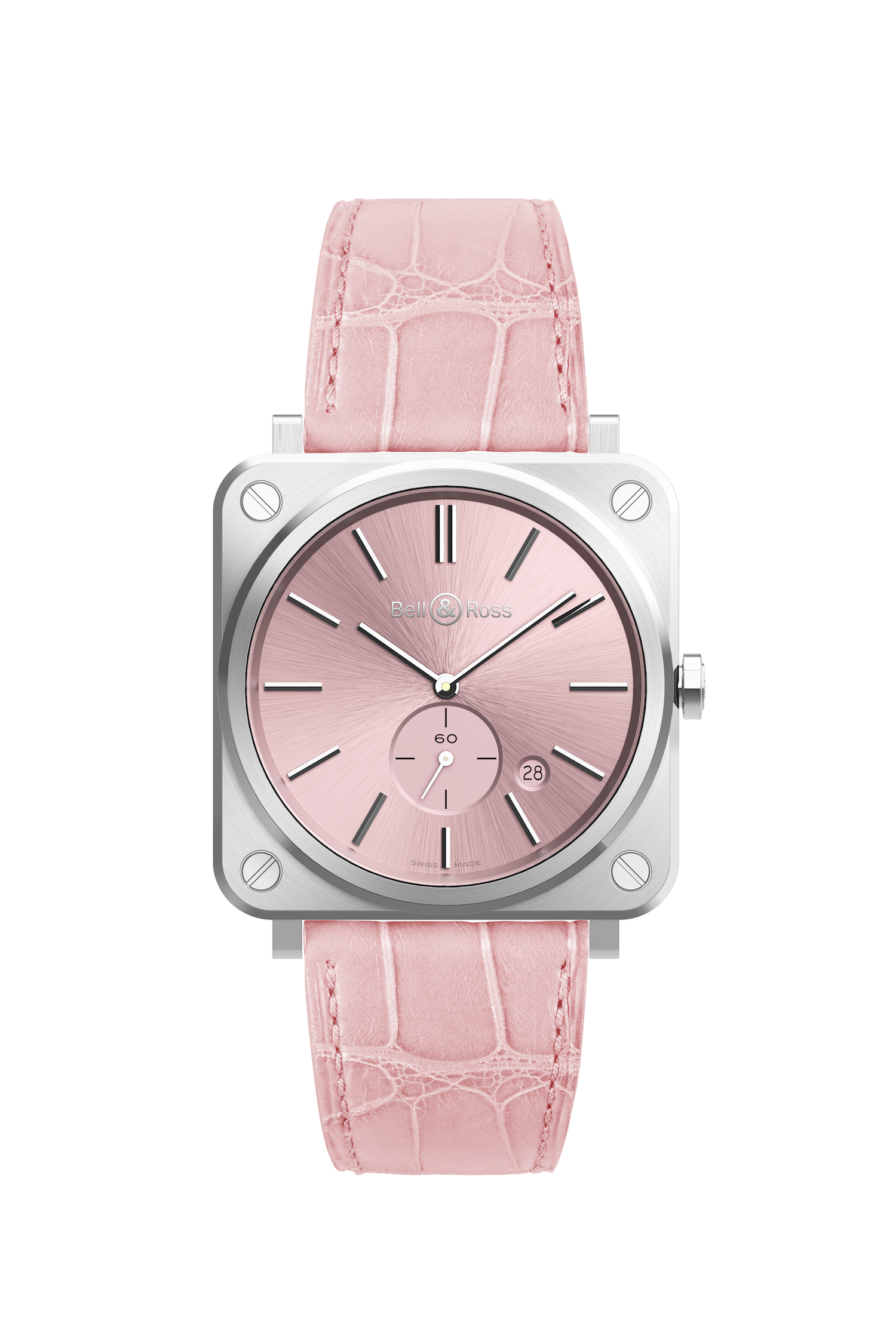 "<p>The combination of the masculine square face with a pink dial and strap on this Bell &amp&#x3B; Ross BRS Novarosa means it can be worn to Saturday brunch just as easily as to a black-tie gala. The 39mm watch is powered by&nbsp&#x3B;a quartz (battery) movement and features a clean time and date display.<br></p><p><em data-redactor-tag=""em"" data-verified=""redactor"">Bell &amp&#x3B; Ross BRS Novarosa, $2,400&#x3B; <a href=""https://www.bellross.com/"" target=""_blank"" data-tracking-id=""recirc-text-link"">bellross.com</a> (available July 2017)</em></p>"