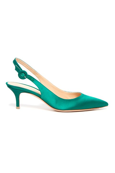 """<p> Gianvito Rossi, Anna<br> slingback kitten-heel satin pumps, $550,&nbsp;<a href=""""http://www.matchesfashion.com/products/Gianvito-Rossi-Anna-slingback-kitten-heel-satin-pumps-1095795"""">matchesfashion.com</a></p><p><span class=""""redactor-invisible-space"""" data-verified=""""redactor"""" data-redactor-tag=""""span"""" data-redactor-class=""""redactor-invisible-space""""></span></p>"""