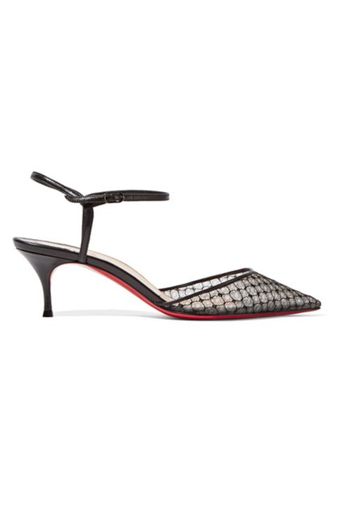 "<p> Christian Louboutin, Riverina<br> 55 leather-trimmed embroidered mesh pumps, $825,&nbsp;<a href=""https://www.net-a-porter.com/us/en/product/705077/Christian_Louboutin/riverina-55-leather-trimmed-embroidered-mesh-pumps"">net-a-porter.com</a></p><p><span class=""redactor-invisible-space"" data-verified=""redactor"" data-redactor-tag=""span"" data-redactor-class=""redactor-invisible-space""></span></p>"