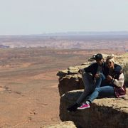 Jeans, Rock, Sunglasses, Ecoregion, Denim, Geology, Vacation, Bedrock, Badlands, Sneakers,