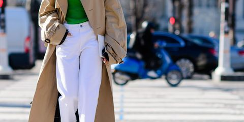 Street fashion, White, Fashion, Clothing, Snapshot, Outerwear, Coat, Jeans, Jacket, Street,