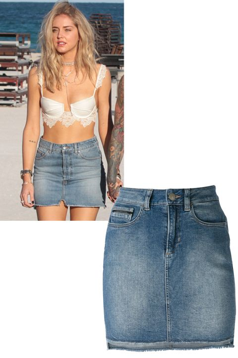 """<p>Swap out your go-to denim cut-offs for a mini skirt instead as spotted on Chiara Ferragni.&nbsp;</p><p><strong data-redactor-tag=""""strong"""" data-verified=""""redactor"""">Shop the look: Calvin Klein </strong>skirt, $98, <a href=""""https://www.farfetch.com/shopping/women/calvin-klein-jeans-high-waisted-denim-skirt--item-11987757.aspx?storeid=9336&amp;from=search&amp;rnkdmnly=1&amp;ffref=lp_pic_28_14_"""" target=""""_blank"""" data-tracking-id=""""recirc-text-link"""">farfetch.com</a>.&nbsp;</p>"""