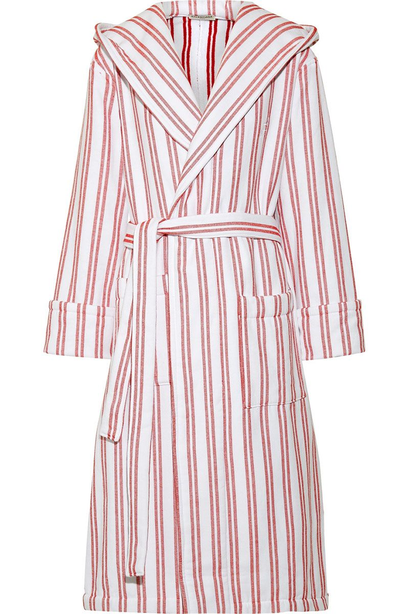 "<p>Take your favorite duster jacket into the summer by leaving it open over a swimsuit. </p><p><strong data-redactor-tag=""strong"" data-verified=""redactor"">Balenciaga</strong> robe coat, $545, <a href=""https://www.net-a-porter.com/us/en/product/906773/Balenciaga/hooded-belted-striped-cotton-coat"" target=""_blank"" data-tracking-id=""recirc-text-link"">net-a-porter.com</a>. </p>"