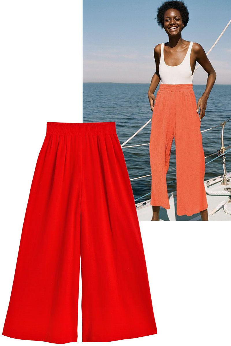 "<p>Add a pair of culottes over a one-piece or a bikini for a look that works both on and off the beach. </p><p><strong data-redactor-tag=""strong"" data-verified=""redactor"">Shop the look: Mara Hoffman</strong> pants, $185, <a href=""http://www.marahoffman.com/ready-to-wear/bottoms/beach-pant-1"" target=""_blank"" data-tracking-id=""recirc-text-link"">marahoffman.com</a>. </p><p><br></p>"
