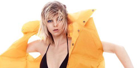 Clothing, Yellow, Orange, Bikini, Blond, Beauty, Thigh, Outerwear, Fashion, Model,