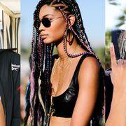Hair, Hairstyle, Skin, Beauty, Sun tanning, Eyewear, Cornrows, Lip, Bikini, Blond,