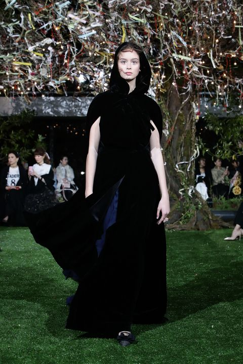 Clothing, Fashion, Dress, Grass, Tree, Haute couture, Formal wear, Gothic fashion,