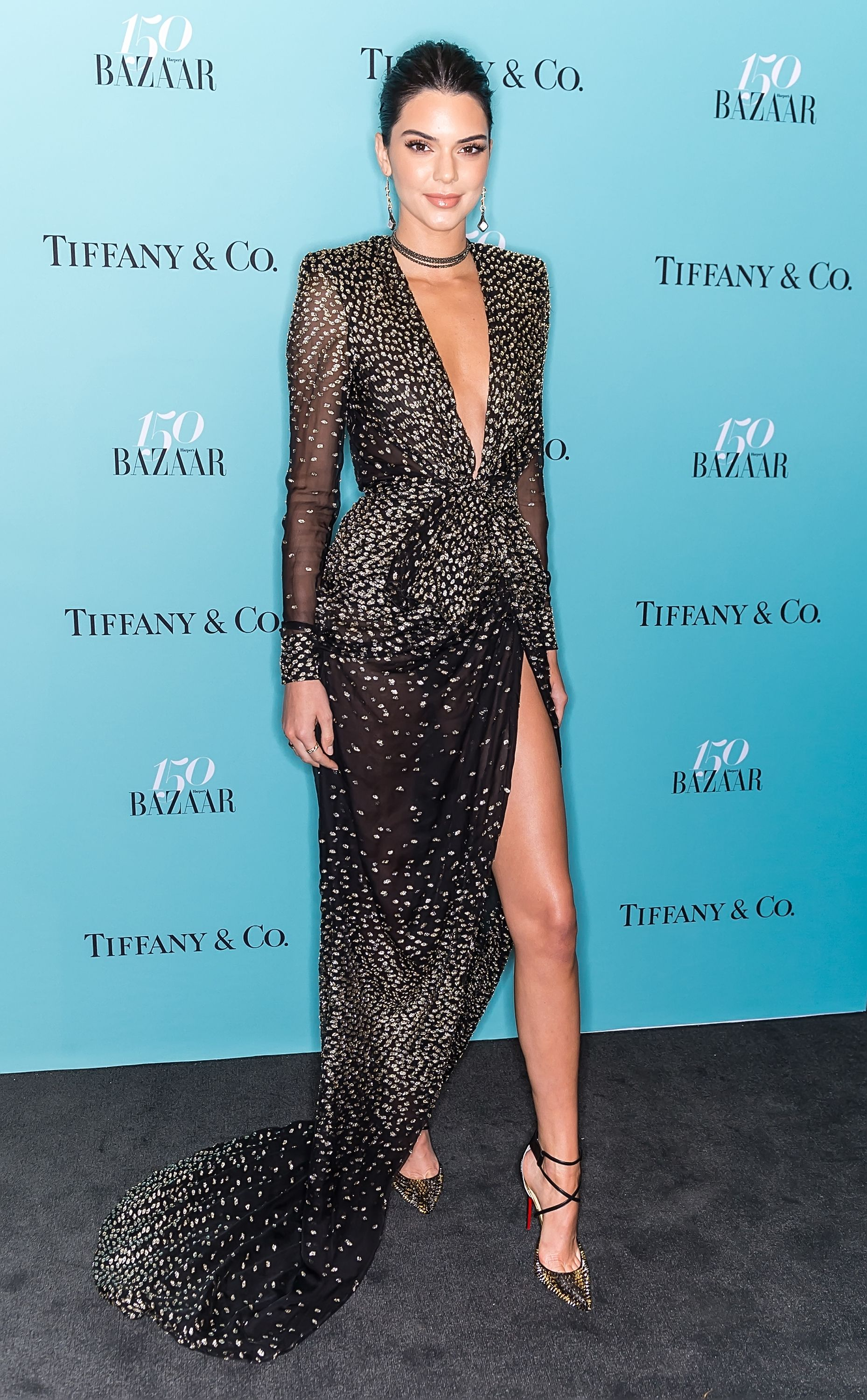 Kendall Jenner in Gold Sheer Dress at Chopard Cannes Party - Kendall ...
