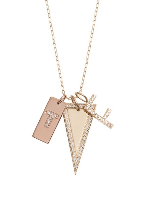27e17a4ece28a6 Jennifer Fisher Small Link Chain, $330; Mini Dog Tag with White Diamond  Initial, $1,200; Medium Triangle Tag with Pavé White Dimaonds, $5,000;  Minimal Block ...