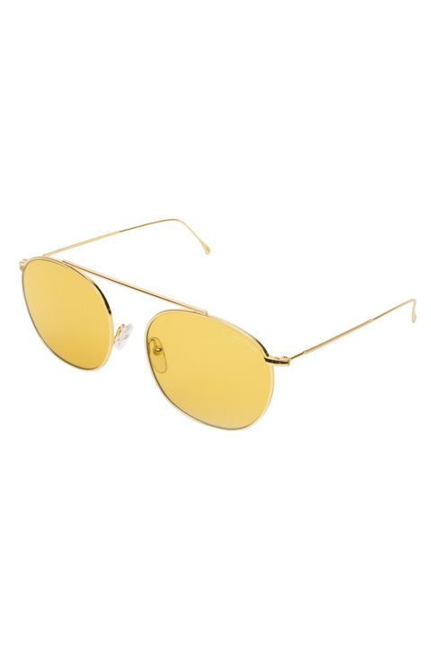 Eyewear, Sunglasses, Glasses, Yellow, aviator sunglass, Personal protective equipment, Vision care, Goggles, Eye glass accessory, Transparent material,