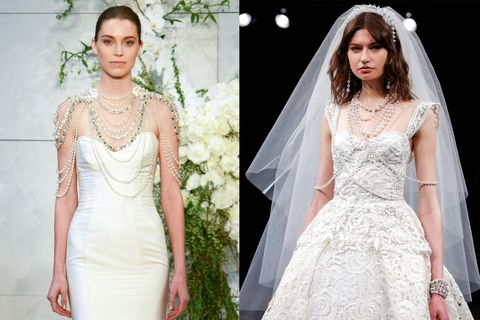 "<p>You only get married once (hopefully), so why limit yourself to boring single drop earrings? Monique Lhuillier showed bridal body jewelry while Naeem Khan went even further&nbsp;with a wedding day septum ring.&nbsp;</p><p><em data-redactor-tag=""em"" data-verified=""redactor"">Left to right:&nbsp;</em><span class=""redactor-invisible-space"" data-verified=""redactor"" data-redactor-tag=""span"" data-redactor-class=""redactor-invisible-space""><em data-redactor-tag=""em"" data-verified=""redactor"">Monique Lhuillier, Naeem Khan</em></span><br></p><p><span class=""redactor-invisible-space"" data-verified=""redactor"" data-redactor-tag=""span"" data-redactor-class=""redactor-invisible-space""></span></p>"