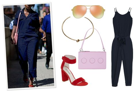 "<p>A navy blue jumpsuit feels&nbsp;fresh when you've been living in shades of black all winter. Keep it seasonal with open-toe sandals, an Easter-egg-hued handbag, and mirrored aviators. A trendy&nbsp;choker adds some edge to an otherwise sweet look.</p><p><em data-redactor-tag=""em"" data-verified=""redactor"">Armani Exchange Jumpsuit, $170, <a href=""http://bit.ly/2oGKz0c"" data-tracking-id=""recirc-text-link"">armaniexchange.com</a>; Armani Exchange Sherbert Modern Aviator Sunglasses, $115, <a href=""http://bit.ly/2p1jdVJ"" data-tracking-id=""recirc-text-link"">armaniexchange.com</a>; Opening Ceremony Nev Zip Clutch, $139, <a href=""http://www.barneyswarehouse.com/product/opening-ceremony-nev-zip-clutch-505007521.html"" target=""_blank"" data-tracking-id=""recirc-text-link"">barneyswarehouse.com</a>; Jeffrey Campbell Sandals, $130, <a href=""http://shop.nordstrom.com/s/jeffrey-campbell-lindsay-ankle-strap-sandal-women/4256863?origin=category-personalizedsort&amp;fashioncolor=RED%20SUEDE"" target=""_blank"" data-tracking-id=""recirc-text-link"">nordstrom.com</a>;&nbsp;&nbsp;Jennifer Fisher Knot Choker, $495, </em><a href=""https://jenniferfisherjewelry.com/knot-choker"" target=""_blank"" data-tracking-id=""recirc-text-link""><em data-redactor-tag=""em"" data-verified=""redactor"">jenniferfisherjewelry.com</em></a></p>"