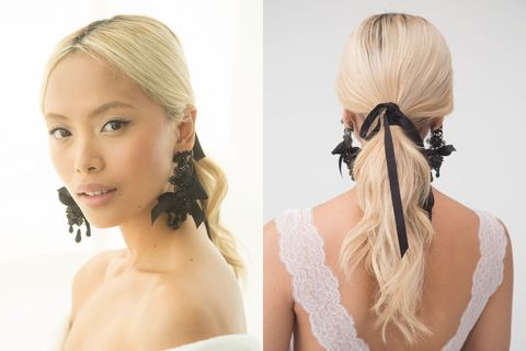 "<p>We saw the velvet ribbon on the fashion runways last season, and the DIY-friendly trend has migrated to the bridal world. Seen at Marchesa, the look is polished but easy. Pro tip: &nbsp;Wear it with statement earrings.&nbsp;<span class=""redactor-invisible-space""></span></p>"