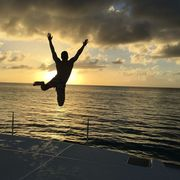 People in nature, Jumping, Sky, Water, Happy, Sunset, Fun, Cloud, Sea, Ocean,