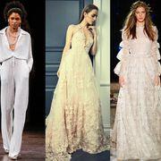 Fashion model, Clothing, Gown, Dress, Wedding dress, White, Fashion, Shoulder, Bridal clothing, Haute couture,