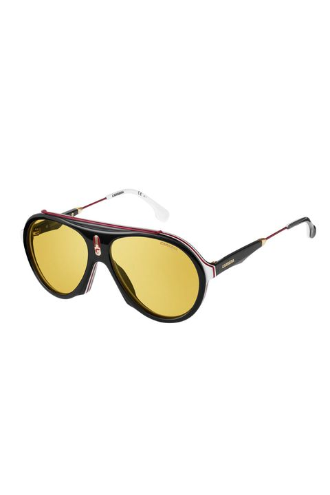 Eyewear, Sunglasses, Glasses, Yellow, Personal protective equipment, aviator sunglass, Vision care, Goggles, Brown, Transparent material,