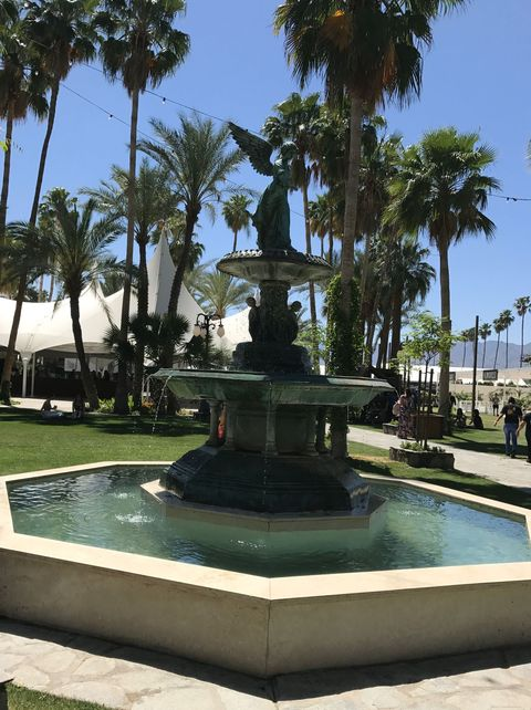 <p>As I entered the festival grounds, there was a luxe lush feeling to it all. A grand stone fountain surrounded by palm trees and tents welcomed you.&nbsp;</p>