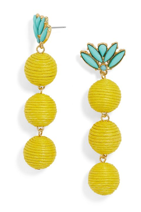 "<p>Add a pinch of color with stacked earrings. Turquoise-hued stones provide&nbsp;an extra splash.</p><p><em data-redactor-tag=""em"" data-verified=""redactor"">BaubleBar Kiki Drops, $42; </em><a href=""https://www.baublebar.com/product/30252-kiki-drops-earrings.html"" target=""_blank"" data-tracking-id=""recirc-text-link""><em data-redactor-tag=""em"" data-verified=""redactor"">baublebar.com</em></a></p>"