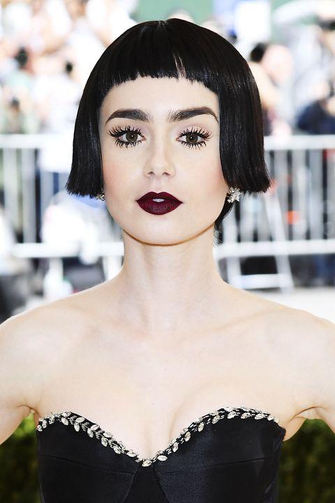 Lip, Hairstyle, Eyelash, Strapless dress, Style, Eye shadow, Beauty, Black hair, Eye liner, Fashion,