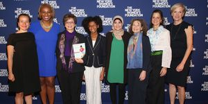 Ana Maria Archila, Valerie Jarrett, Marley Dias, Linda Sarsour, Donna Lieberman, Anne E. Delaney and Cecile Richards attend the 30th Anniversary Celebrating Women Breakfast at Marriott Marquis Hotel on May 11, 2017 in New York City.