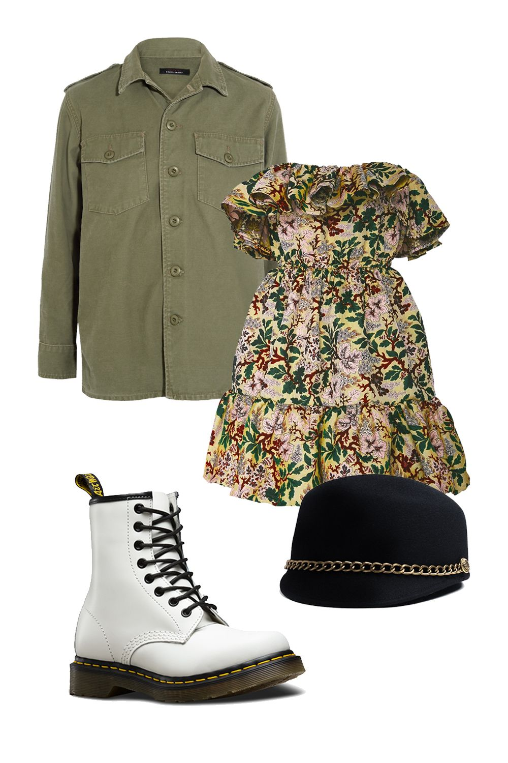 "<p>You're the zodiac's warrior queen, Aries, so work the military-inspired staples into your style. Toughen up a floral sundress with combat boots and try them in white or classic Aries red. Gladiator sandals can also be swapped in on warmer days. A broken-in army jacket doubles as an <i data-redactor-tag=""i"">apres-dusk</i> cover-up and a pillow when you need a quick catnap. P.S. Your fierceness may be called upon as you jump into an impromptu rap battle or flash your Feminist Fight Club credentials to put a festival bro in his place.</p><p><em data-redactor-tag=""em"" data-verified=""redactor"">Kate Moss for Equipment Major Washed Cotton-Canvas Jacket, $360; <a href=""https://www.net-a-porter.com/us/en/product/858563/kate_moss_for_equipment/major-washed-cotton-canvas-jacket"">net-a-porter.com</a> </em></p><p><em data-redactor-tag=""em"" data-verified=""redactor"">Philosophy Di Lorenzo Serafini Off-The-Shoulder Jacquard Ruffle Dress, $850; <a href=""https://www.modaoperandi.com/philosophy-di-lorenzo-serafini-r17/off-the-shoulder-jacquard-ruffle-dress#zoom"">modaoperandi.com</a> <br></em></p><p><em data-redactor-tag=""em"" data-verified=""redactor"">Dr Martens Women's 1460 Smooth, $135; <a href=""http://www.drmartens.com/us/p/11821100"">drmartens.com</a> </em></p><p><em data-redactor-tag=""em"" data-verified=""redactor"">Preston and Olivia Cindy Hat, $210; <a href=""https://prestonandolivia.com/collections/fall-winter-hats/products/copy-of-betty-1"">prestonandolivia.com</a> </em></p>"