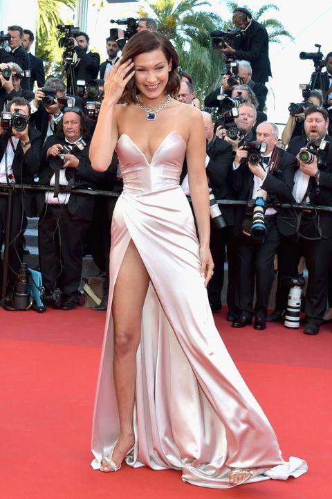 3335b689e3314 Bella Hadid Dodges Wardrobe Malfunction at Cannes 2017 - Bella Hadid ...