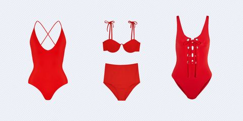 0ee6fcabeed Between today's Baywatch release and that viral free bathing suit on  Instagram, we have a strong feeling that red will be the color of the swim  season.