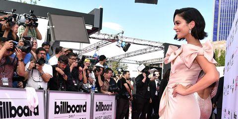 Red carpet, Dress, Premiere, Carpet, Flooring, Beauty, Pink, Fashion, Gown, Shoulder,