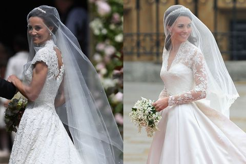 Pippa middleton and kate middleton wedding dresses similarities getty images wheee pippa middletons wedding junglespirit Images