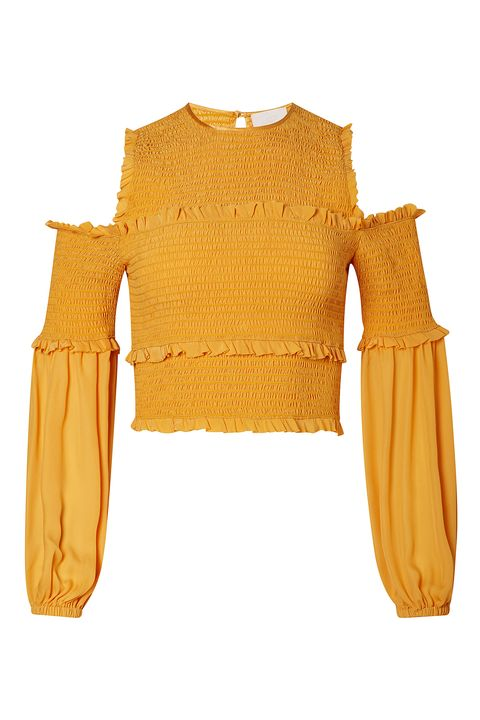 """<p>The <a href=""""http://www.elle.com/fashion/shopping/g29840/the-perfect-yellows/"""" target=""""_blank"""" data-tracking-id=""""recirc-text-link"""">stand-out color trend</a> splashed all over the season's runway was bright, cheerful-to-the-max yellow.&nbsp;</p><p><em data-redactor-tag=""""em"""" data-verified=""""redactor"""">Cinq à Sept&nbsp;</em><span class=""""redactor-invisible-space"""" data-verified=""""redactor"""" data-redactor-tag=""""span"""" data-redactor-class=""""redactor-invisible-space""""><em data-redactor-tag=""""em"""" data-verified=""""redactor"""">Pascal Top, $345; </em><a href=""""http://shop.nordstrom.com/c/womens-contemporary-apparel?campaign=0508vacation43&amp;mcamp=4304&amp;cm_sp=merch-_-multi_0529_contemporary_4304-_-freelayout_shop2&amp;cm_mmc=Mindshare_Nordstrom-_-0508vacation43-_-Elle-_-EditorialArticleJune"""" target=""""_blank"""" data-tracking-id=""""recirc-text-link""""><em data-redactor-tag=""""em"""" data-verified=""""redactor"""" data-tracking-id=""""recirc-text-link"""">nordstrom.com</em></a></span><br></p>"""
