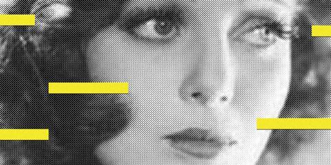 Face, Facial expression, Yellow, Head, Nose, Text, Font, Line, Eye, Design,