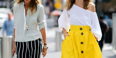 Clothing, White, Street fashion, Yellow, Fashion, Fashion model, Waist, Neck, Shoulder, Sleeve,