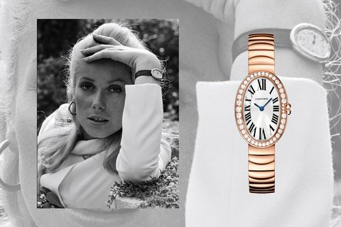 "<p>The recognizable shape of the Cartier Baignoire&nbsp&#x3B;helps give the watch its name&#x3B; it translates literally to mean ""bath,"" <em data-redactor-tag=""em"" data-verified=""redactor"">a la </em>its oval face.&nbsp&#x3B;The style, created in 1906, matches actress Catherine Deneuve's timeless Parisian style perfectly. Prior to the actress' adoption of the style, the house had been an&nbsp&#x3B;exclusive jeweler known only to those well-heeled enough to be a customer&#x3B; with the popularization courtesy of&nbsp&#x3B;Deneuve<span class=""redactor-invisible-space"" data-verified=""redactor"" data-redactor-tag=""span"" data-redactor-class=""redactor-invisible-space"">, it morphed into more of a global luxury brand.</span></p><p><span class=""redactor-invisible-space"" data-verified=""redactor"" data-redactor-tag=""span"" data-redactor-class=""redactor-invisible-space""></span></p><p><em data-redactor-tag=""em"" data-verified=""redactor"">Cartier 18-Carat Baignoire Small Model with Diamonds, $32,300&#x3B; </em><a href=""http://www.cartier.com/en-us/collections/watches/womens-watches/baignoire/wb520002-baignoire-watch,-small-model.html"" target=""_blank"" data-tracking-id=""recirc-text-link""><em data-redactor-tag=""em"" data-verified=""redactor"">cartier.com</em></a></p>"