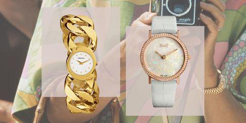 Analog watch, Watch, Fashion accessory, Fashion, Strap, Material property, Brand, Watch accessory, Jewellery, Gold,
