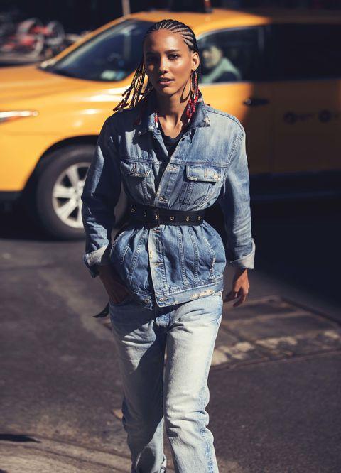 Sleeve, Denim, Jeans, Style, Street fashion, Pocket, Bag, Jewellery, Long hair, Fashion model,