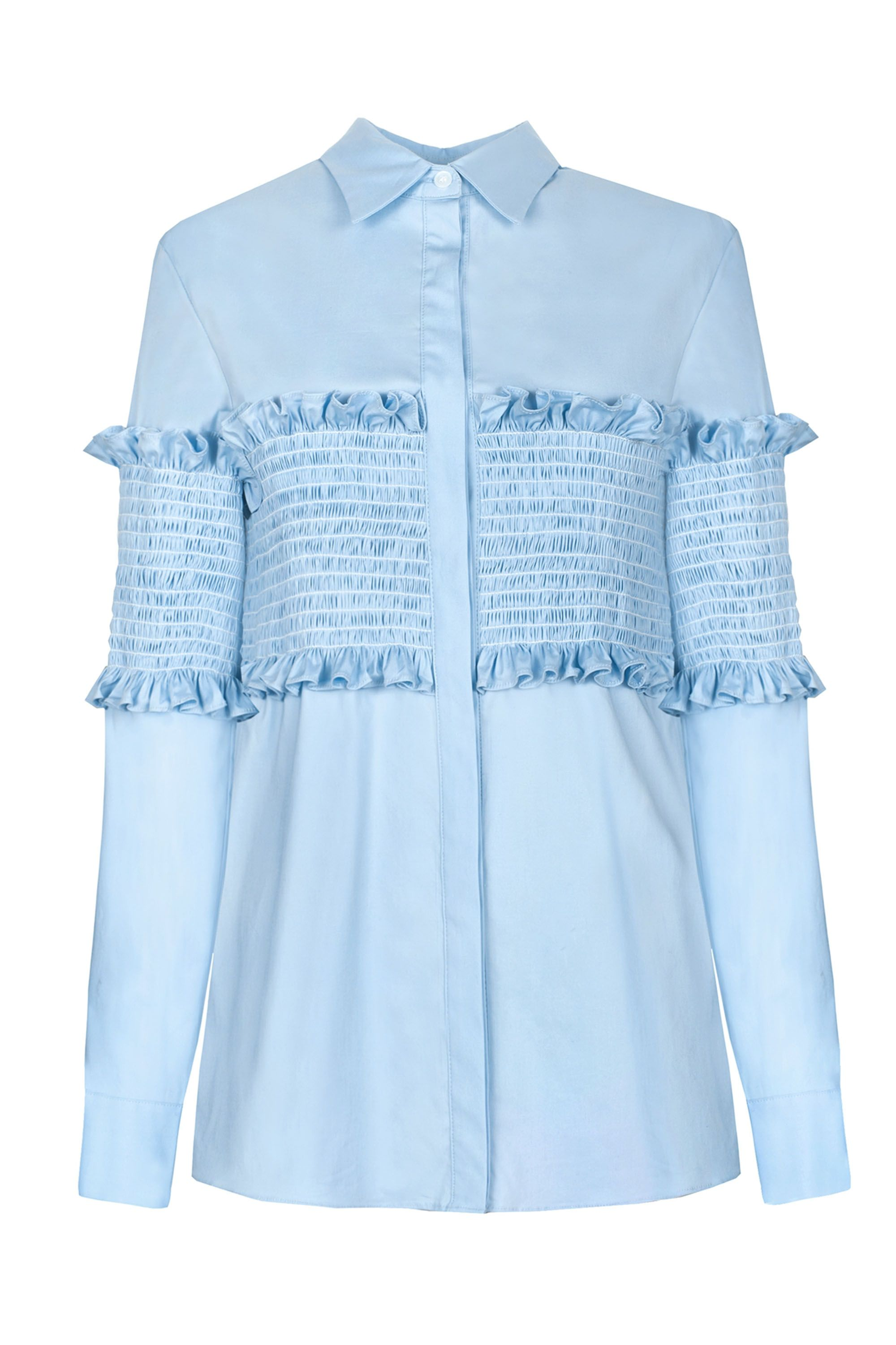 """<p>Pixie Market Smocked Shirt, $128;<a href=""""http://www.pixiemarket.com/light-blue-smocked-shirt.html"""" target=""""_blank"""" data-tracking-id=""""recirc-text-link"""">pixiemarket.com</a></p>"""