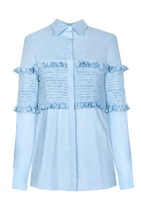 "<p>Pixie Market Smocked Shirt, $128;&nbsp;<a href=""http://www.pixiemarket.com/light-blue-smocked-shirt.html"" target=""_blank"" data-tracking-id=""recirc-text-link"">pixiemarket.com</a></p>"