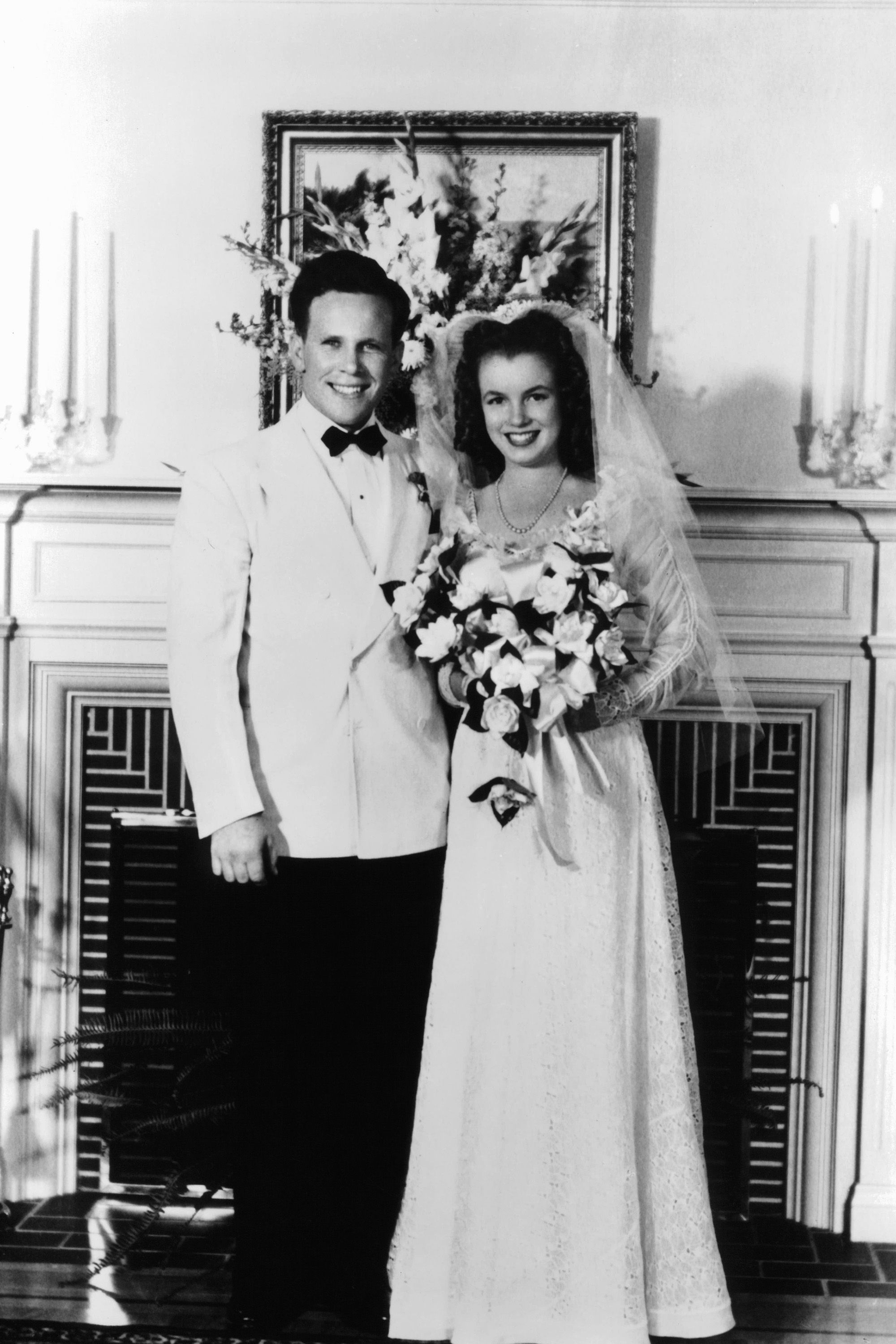 <p>Monroe's first marriage, to high school sweetheart James Dougherty, when she was 16. </p>