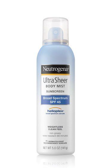 "<p>SPF is a must, but sticky, goopy hands aren't. A lightweight spray gets the job done with minimal dry time.&nbsp;</p><p><em data-redactor-tag=""em"" data-verified=""redactor"">Neutrogena Ultra Sheer Body Mist Sunscreen SPF 45, $10; </em><a href=""http://www.neutrogena.com/product/ultra%20sheer-%20body%20mist%20sunscreen%20broad%20spectrum%20spf%2045.do"" target=""_blank"" data-tracking-id=""recirc-text-link""><em data-redactor-tag=""em"" data-verified=""redactor"">neutrogena.com</em></a></p>"