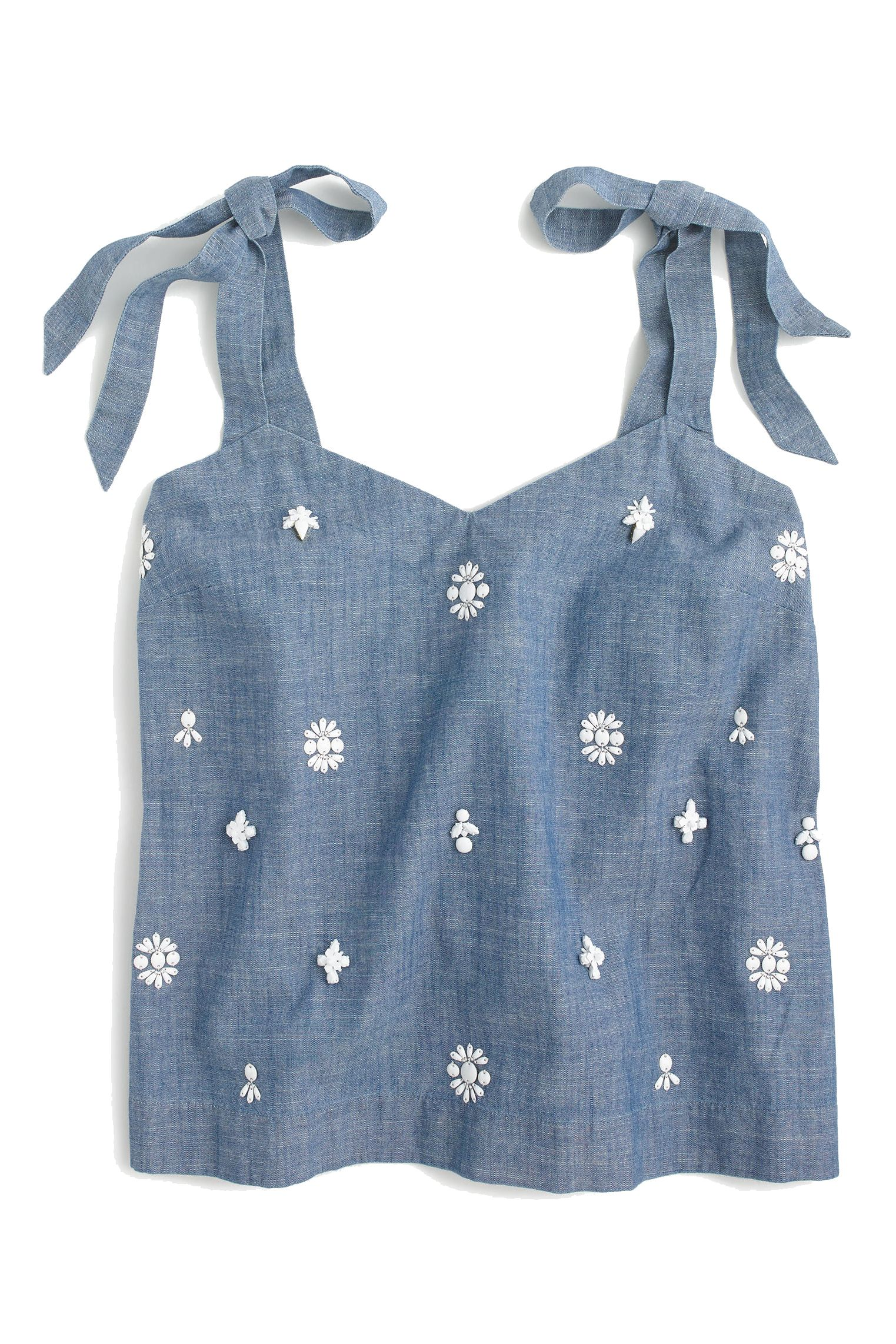 """<p>Though typically casual, a tank is party-ready with milky white embellishments and bow-tied shoulders.</p><p><em data-redactor-tag=""""em"""" data-verified=""""redactor"""">J.Crew Tie-Shoulder Top, $98; <a href=""""https://www.jcrew.com/p/womens_feature/newarrivals/topsandblouses/embellished-tieshoulder-top/G7638"""" target=""""_blank"""" data-tracking-id=""""recirc-text-link"""">jcrew.com</a></em></p>"""