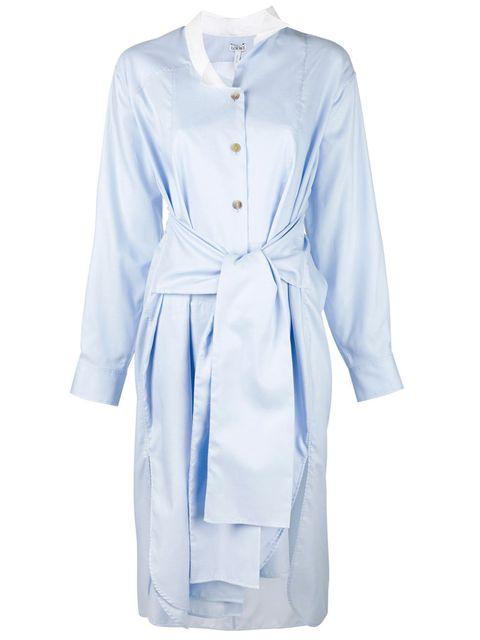 Clothing, White, Blue, Robe, Sleeve, Nightwear, Dress, Collar, Outerwear, Day dress,