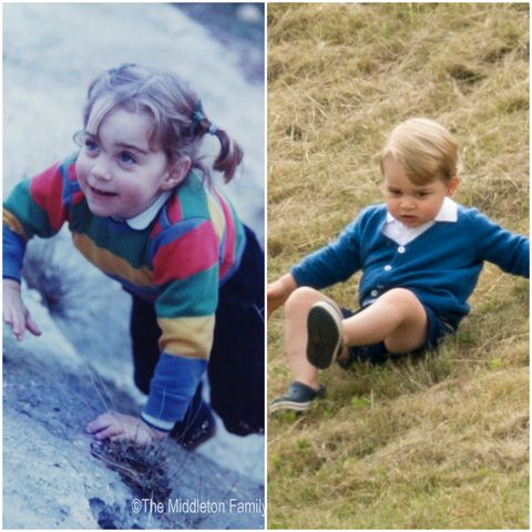 his Handout Image provided by Clarence House www.officialroyalwedding2011.org, Kate Middleton is pictured aged three on a family holiday in the Lake District. (Photo by the Middleton Family/Clarence House via GettyImages)  Prince George of Cambridge attends the Gigaset Charity Polo Match at Beaufort Polo Club on June 14, 2015 in Tetbury, England. (Photo by Mark Cuthbert/UK Press via Getty Images)