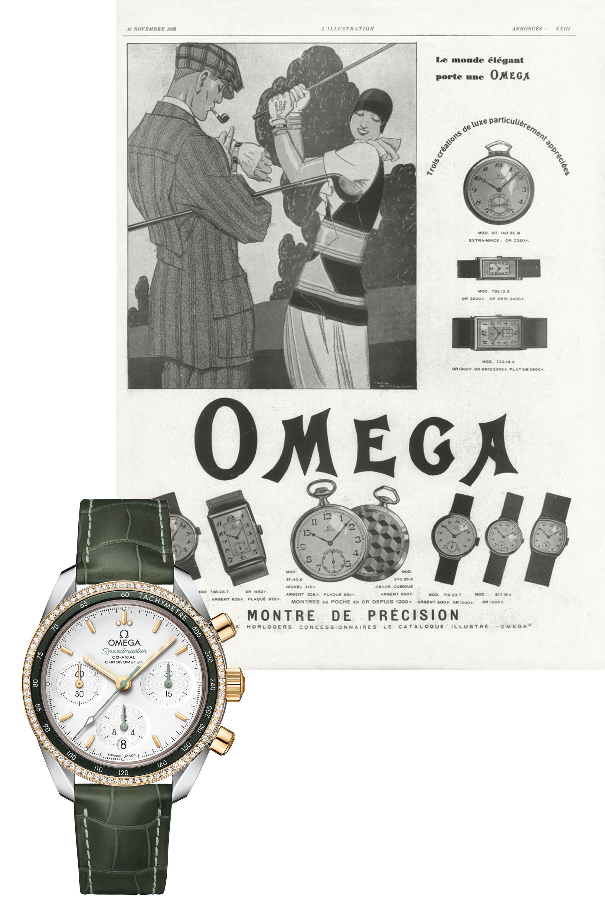 """<p>From&nbsp&#x3B;Victorian-era pocket watches to Speedmasters built for walking on the moon, Omega is steeped in history. Its modern mechanical ladies chronograph, made in 18K yellow gold with a green aluminum bezel and a heap of diamonds, is both edgy and everyday wearable. Green is the new neutral, after all.</p><p><em data-redactor-tag=""""em"""" data-verified=""""redactor"""">&nbsp&#x3B;Speedmaster 38 Co- Axial Chronograph, $9,300&#x3B;&nbsp&#x3B;</em><a href=""""https://www.omegawatches.com/watches/speedmaster/speedmaster-38mm/co-axial-chronograph-38-mm/32428385002001/"""" target=""""_blank"""" data-tracking-id=""""recirc-text-link""""><em data-redactor-tag=""""em"""" data-verified=""""redactor"""">omega.com</em></a></p>"""